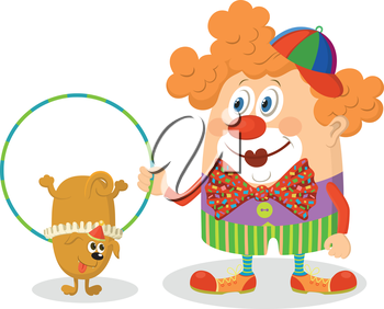 Cheerful kind circus clown in colorful clothes with hoop, through which jumping trained dog, holiday illustration, funny cartoon character isolated on white background. Vector