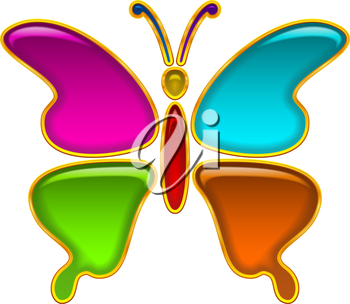 Colorful Glossy Button in Shape of Butterfly with Multicolored Details and Golden Frames, Computer Icon for Web Design. Eps10, Contains Transparencies. Vector