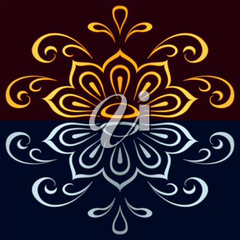Abstract color pattern background, symbolical floral ornament. Vector