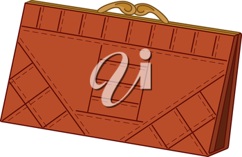 Brown leather purse for money with rectangular texture. Vector