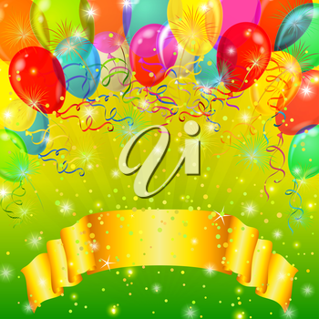 Holiday background with banner, various color balloons, fireworks and confetti on green. Vector eps10, contains transparencies