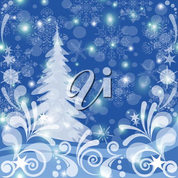 Christmas background for holiday design, winter snowy forest with fir tree, abstract white patterns, snowflakes and stars. Vector eps10, contains transparencies