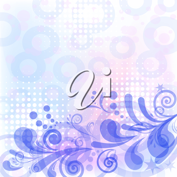 Abstract blue, white and pink background with symbolical floral patterns. Vector eps10, contains transparencies