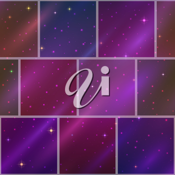 Abstract holiday space seamless background with dark violet sky, stars and color cosmic rays. Pattern for web design, split into separate parts. Eps10, contains transparencies. Vector