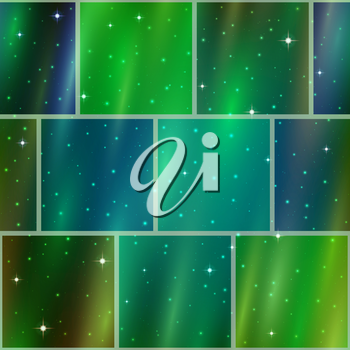 Abstract holiday space seamless background with dark green sky, stars and color cosmic rays. Pattern for web design, split into separate parts. Eps10, contains transparencies. Vector