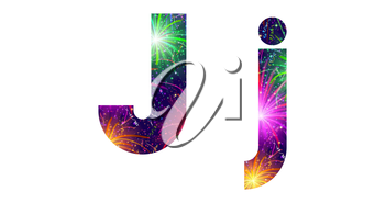 Set of English letters signs uppercase and lowercase J, stylized colorful holiday firework with stars and flares, elements for web design. Eps10, contains transparencies. Vector