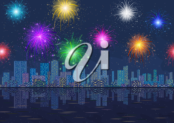 Horizontal Seamless Landscape, Holiday Urban Background, Night City with Skyscrapers and Fireworks in Starry Sky, Reflecting in Blue Sea. Eps10, Contains Transparencies. Vector