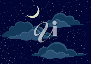 Cloudscape Background, Cumulus Clouds, White Stars and Light Moon on Dark Blue Night Sky. Vector