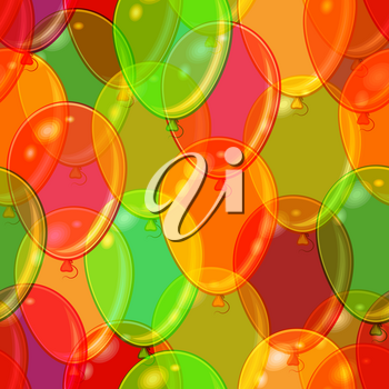 Seamless Holiday Pattern, Tile Background with Beautiful Flying Colorful Balloons. Eps10, Contains Transparencies. Vector