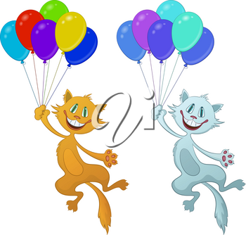 Set of Cartoon Cats, Red and White Funny Pets, Smiling and Flying with Bundle of Colorful Balloons, Isolated on White Background. Vector