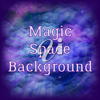 Abstract Landscape, Space Seamless Background with Dark Blue, Violet and Pink Clouds and Nebulas, Stars and Color Cosmic Rays, Tile Pattern for Your Design. Eps10, Contains Transparencies. Vector