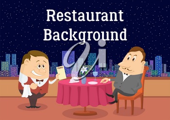 Respectable Man Sitting Near Table While Waiter Gives Him Menu in Open-Air Restaurant with View on Night Sky and City. Cartoon Background for Your Design. Eps10, Contains Transparencies. Vector