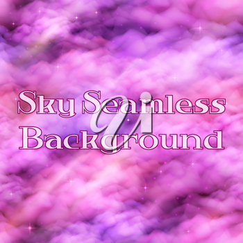 Morning Sky with Bright Pink Clouds, Stars and Color Rays, Seamless Background Landscape, Tile Pattern for Your Design. Eps10, Contains Transparencies. Vector