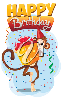 Greeting card Happy Birthday with monkey gift