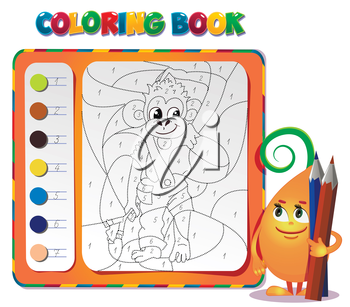 choose the color of the figure. Coloring book about monkey