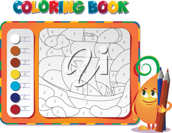 choose the color of the figure. Coloring book about ship