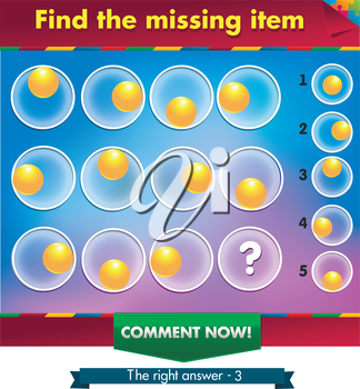Visual Game for children. Task: find the missing part
