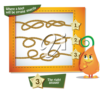 Visual Game for children. Task: where a knot will be strung exactly