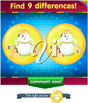 Visual Game for children. Find 9 differences the funny egg