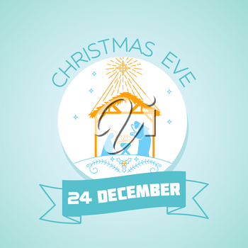 Calendar for each day on December 24. Greeting card. Holiday - Christmas Eve. Icon in the linear style