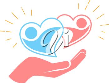 icon of two loving hearts in a dance. hand holds two loving hearts