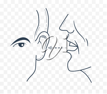 man says to the other something in his ear. Icon in a linear style