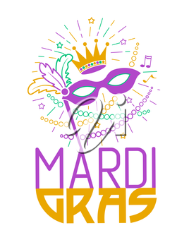 Mardi Gras Party Mask Poster. Greeting card. Holiday poster or placard template. Vector design illustration of celebration in the linear style