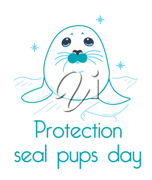 Greeting card. Holiday - Protection seal pups. Icon in the linear style