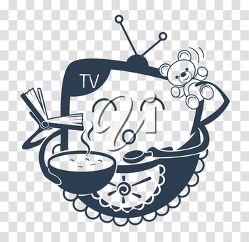 concept of child television, in the form of entertaining TV baby. Icon black and white silhouette  in the linear style