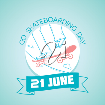 Calendar for each day on june  21. Greeting card. Holiday - Go Skateboarding Day. Icon in the linear style