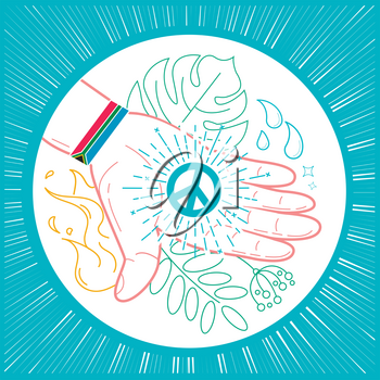 icon on the holiday - Nelson Mandela Day, in the form of a hand with a bracelet of the flag of Africa and a sign of peace on the hand. Icon in the linear style