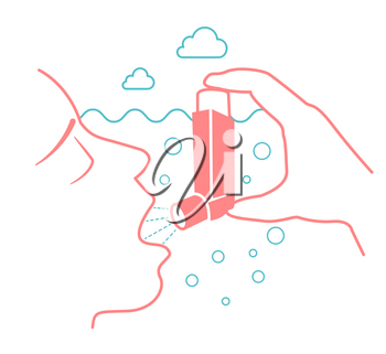 Icon of a patient with bronchial asthma in a linear style. The concept of the disease, in the form of an abstractly choking person in water and a spray aerosol