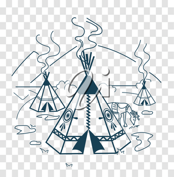 Illustration of life indigenous people in the form of a wigwam, a deer. Icon, silhouette  in the linear style
