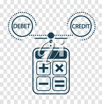 concept of calculation debit and credit,  balance sheet, accounting in the form of calculating a calculator. Icon, silhouette in the linear style