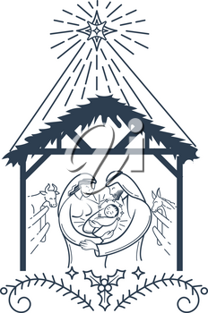 Bible scene black and white illustration the Nativity of jesus christ. Holy family. Merry christmas icon in linear style