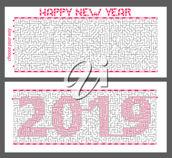 maze  (greeting card) of mystery with the encrypted inscription 2019. The concept is a symbol of the new year