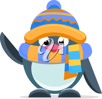 Cute penguin with a scarf - icon Merry Christmas