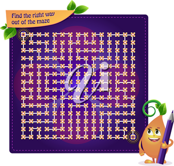 game for developing attention for children and adults. Task game find the right way out of the maze