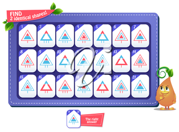 educational game for kids and adults. development of attention, iq children. Task game find 2 identical shapes