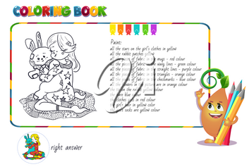 game book coloring with questions on a picture with a girl hugging a soft toy rabbit