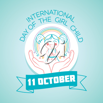 Calendar for each day on october 11. Greeting card. Holiday - International Day of the Girl Child. Icon in the linear style