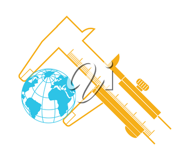 concept of measurement, calculation in the form of a calipers measuring the earth.  Icon in the linear style