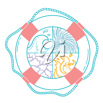 concept of  insurance home, life, travel in the form of different elements of nature in the lifebuoy, as a symbol of protection, salvation. Icon in the linear style