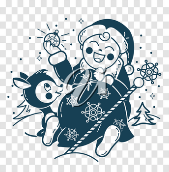 concept of Santa Claus in the form of a small child with a bag of gifts and small deer in a winter forest. Icon, silhouette in the linear style