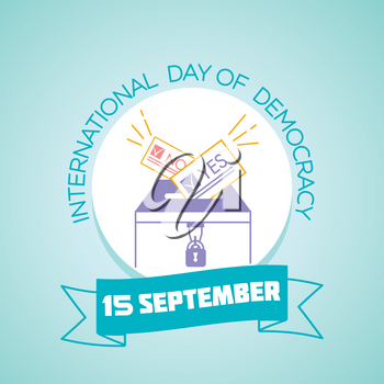 Calendar for each day on september15. Greeting card. Holiday -International Day of Democracy. Icon in the linear style