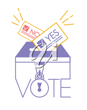 Voting concept in linear style - hand putting paper in the ballot box. ballot icon the signs to vote yes or no