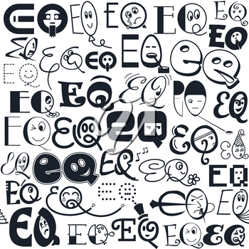 funny seamless pattern in the form of different emotions as a symbol of emotional intelligence, eq
