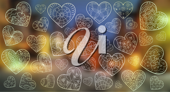 Set of artistically hand drawn hearts.  Background for traveling, Valentines day. Pattern for animation. Vector, doodle, zentangle,
