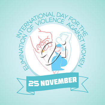 Calendar for each day on november 25. Greeting card. Holiday -  International Day For the Elimination of Violence against Women. Icon in the linear style