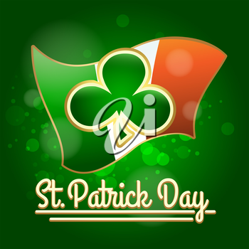 Shamrock against Irish flag. St. Patrick's Day Design.